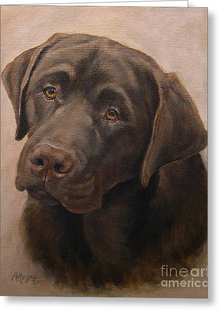 Chocolate Labrador Retriever Portrait Greeting Card by Amy Reges