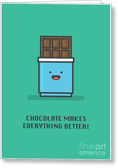Chocolate Makes Everything Better Line Greeting Card