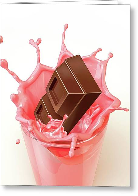 Chocolate Splashing Into A Drink Greeting Card