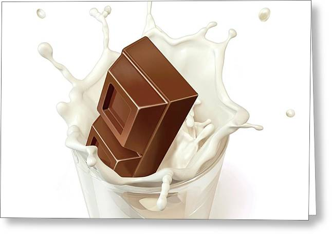 Chocolate Splashing Into Milk Greeting Card