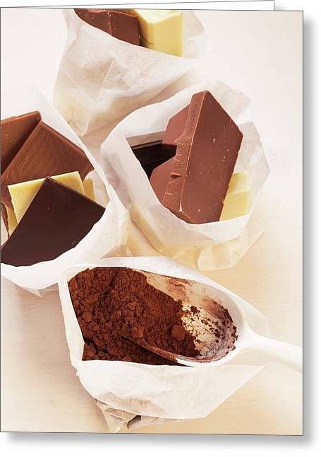 Chocolate Still Life With Cocoa Powder In Paper Bags Greeting Card