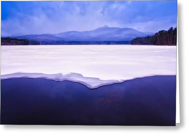 Chocorua Reflected In Ice And Snow Greeting Card by Jeff Sinon