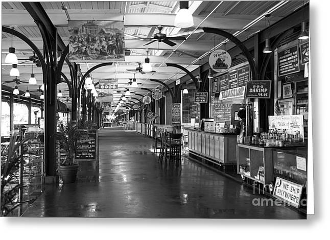Choices At The French Market Mono Greeting Card by John Rizzuto