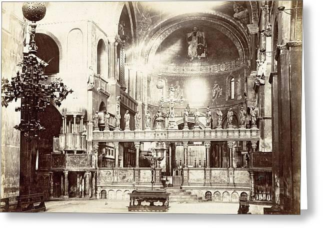 Choir, Byzantine Cross, Altar And Altar Of The Basilica Greeting Card by Artokoloro