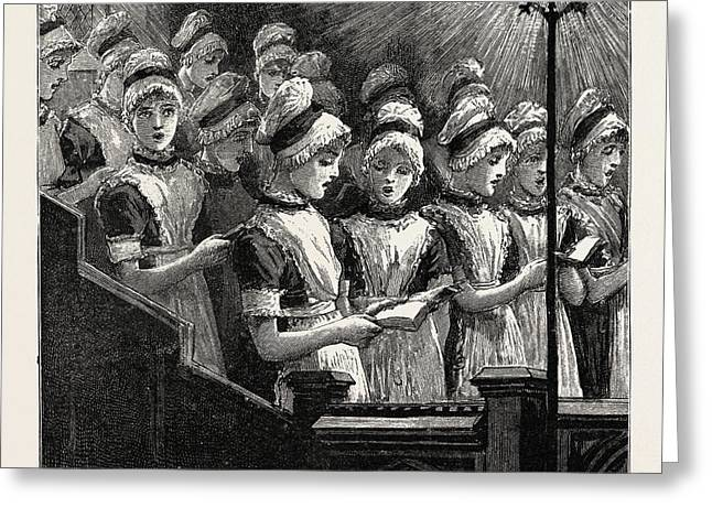 Choir Of The French Church Of The Savoy Greeting Card by English School
