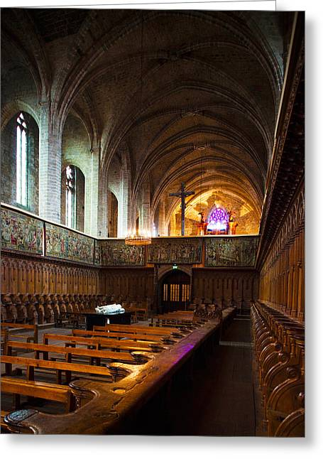 Choir Stalls At Abbatiale Saint-robert Greeting Card