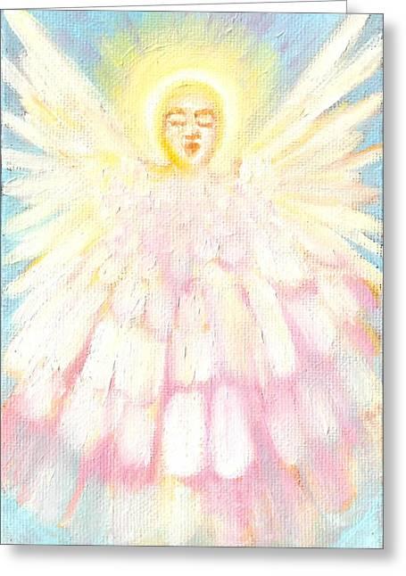 Choiring Angel Greeting Card by Anne Cameron Cutri
