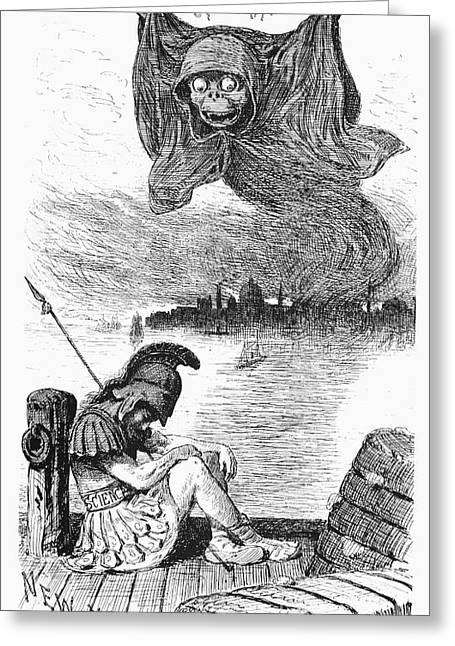 Cholera Cartoon, 1883 Greeting Card