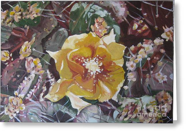 Greeting Card featuring the painting Cholla Flowers by Julie Todd-Cundiff