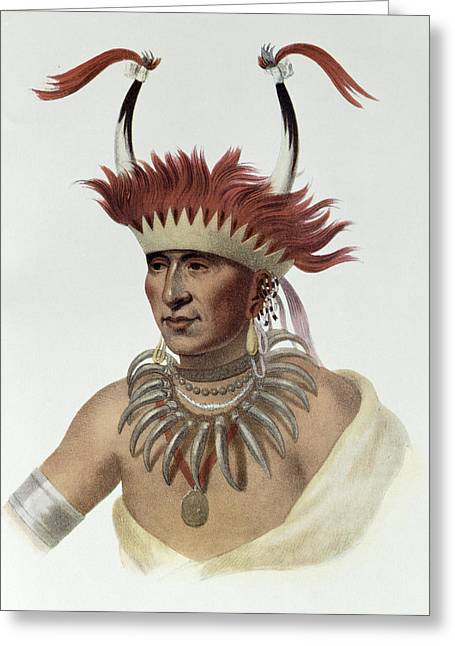 Chon-mon-i-case Or Lietan, An Oto Half-chief, 1821, Illustration From The Indian Tribes Of North Greeting Card