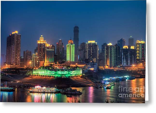 Chongqing City Skyline Greeting Card by Fototrav Print
