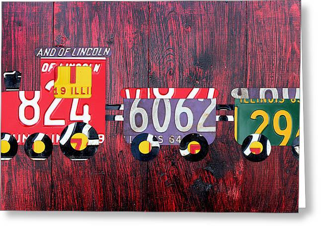 Choo Choo Train License Plate Art Greeting Card