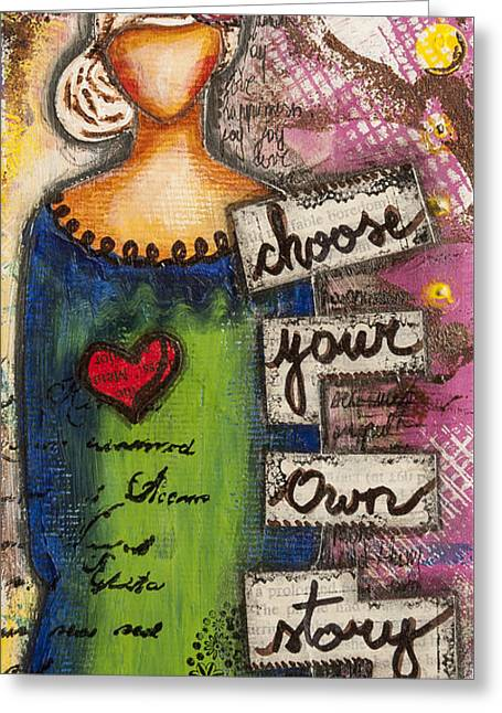 Choose Your Own Story Inspirational Mixed Media Folk Art  Greeting Card
