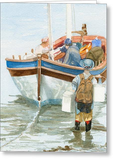 Greeting Card featuring the painting Chop Wood Carry Water by Sandy Linden