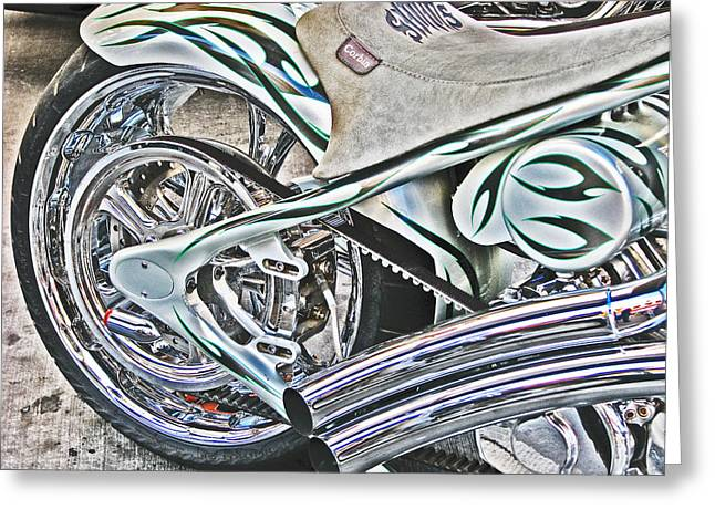 Chopper Belt Drive Detail Greeting Card by Samuel Sheats