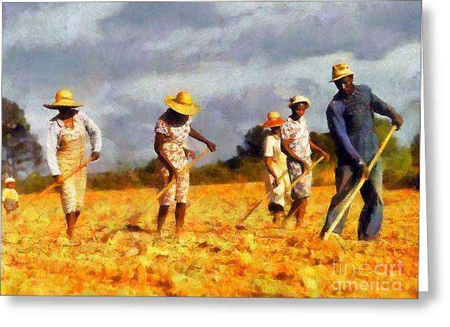 Greeting Card featuring the digital art Chopping Cotton by Kai Saarto