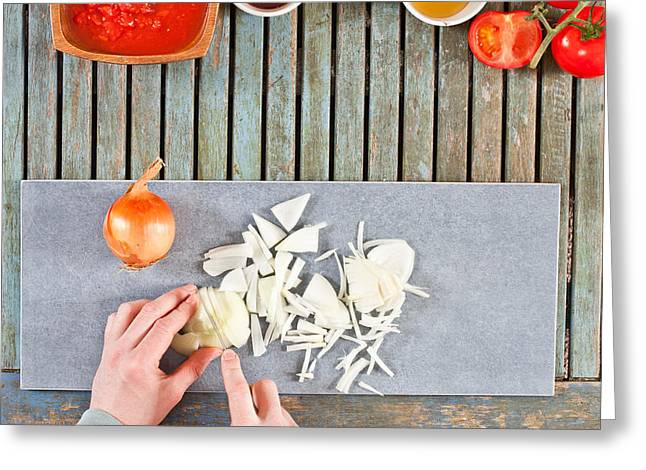 Chopping Onions Greeting Card by Tom Gowanlock