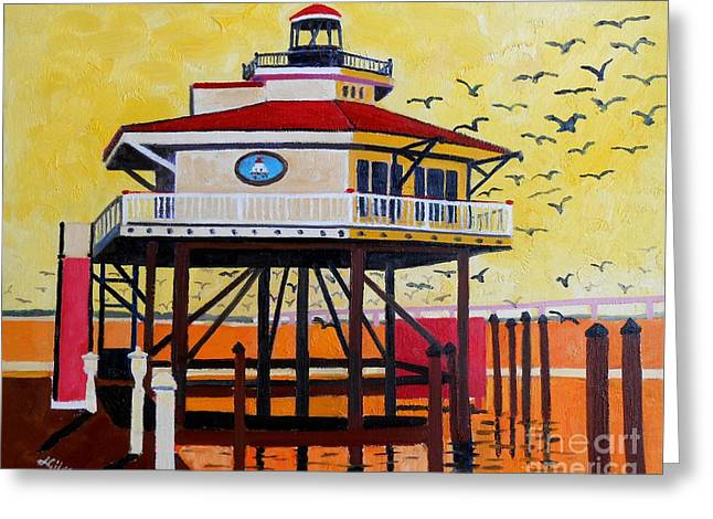 Choptank River Lighthouse Greeting Card by Lesley Giles