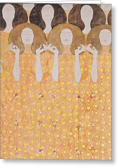 Chor Der Paradiesengel Greeting Card by Gustav Klimt