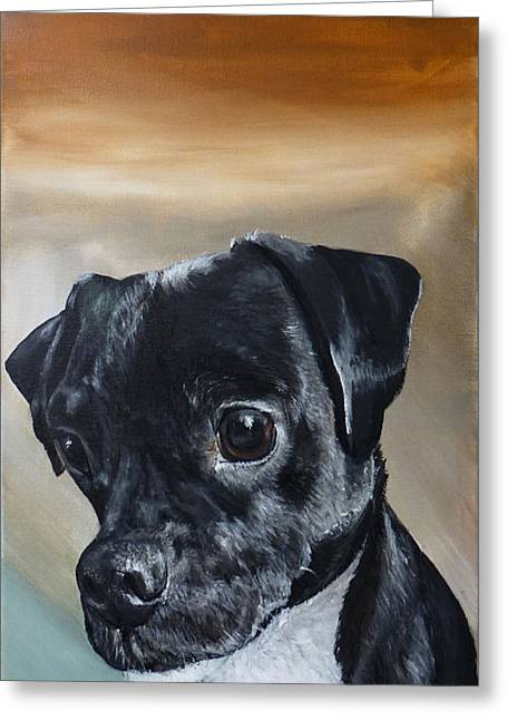 Chowder The Pug Rat Terrier Mix Greeting Card by Michelle Iglesias