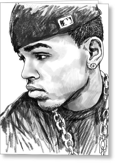 Chris Brown Art Drawing Sketch Portrait Greeting Card by Kim Wang