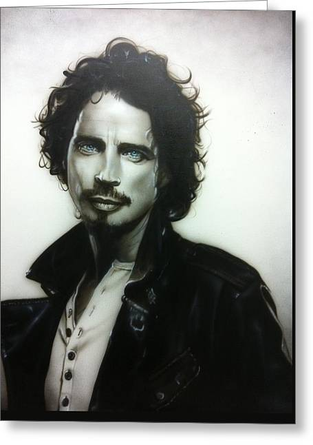 ' Chris Cornell ' Greeting Card by Christian Chapman Art