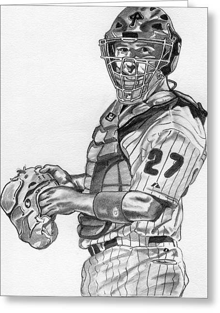 Chris Coste Greeting Card by Brian Condron