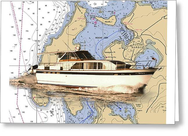 Yacht On A Chart Chris Craft San Juan Islands Chart Greeting Card by Jack Pumphrey