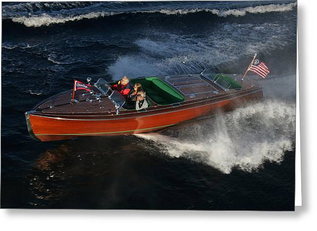 Chris Craft Triple Cockpic Greeting Card by Steven Lapkin