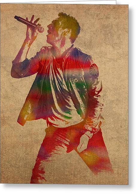 Chris Martin Coldplay Watercolor Portrait On Worn Distressed Canvas Greeting Card by Design Turnpike