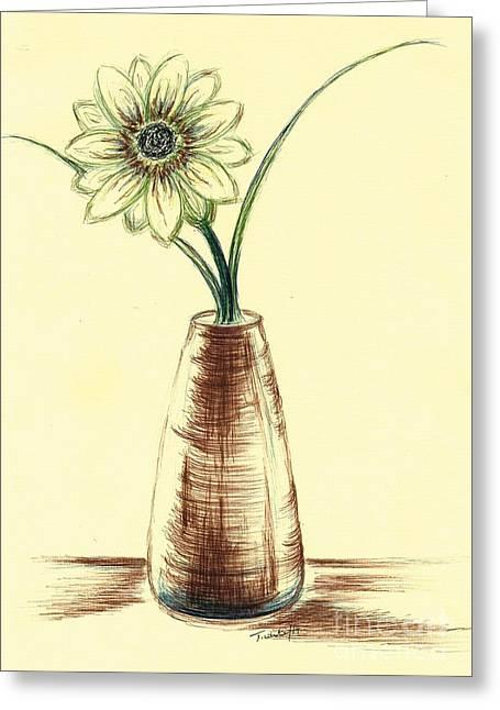 Chrysanthemum Flower Greeting Card by Teresa White