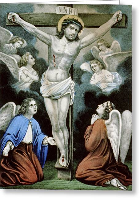 Christ And The Angels Circa 1856 Greeting Card by Aged Pixel