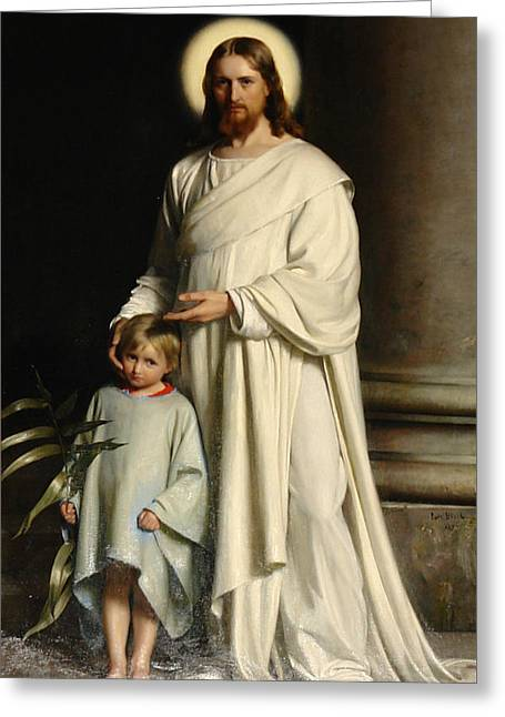 Christ And The Child Greeting Card by Carl Bloch