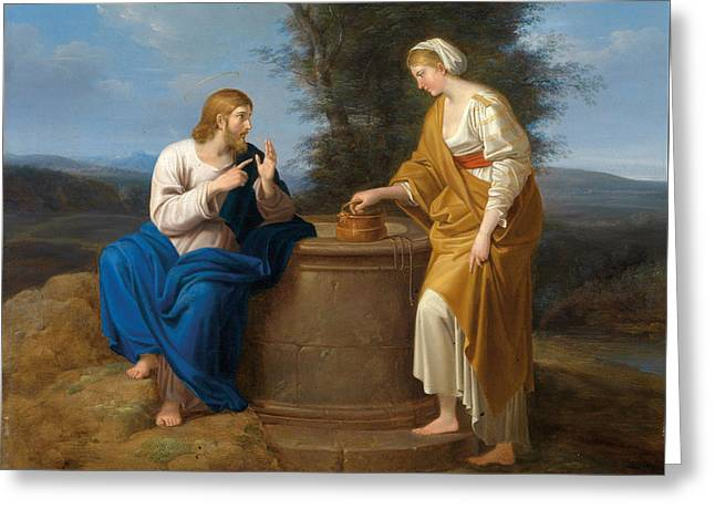 Christ And The Good Samaritan At The Well Greeting Card by Ferdinand Georg Waldmueller