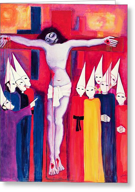 Christ And The Politicians, 2000 Acrylic On Canvas Greeting Card by Laila Shawa