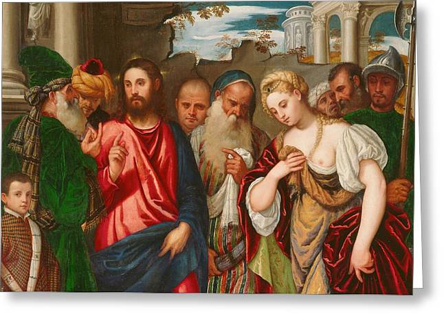Christ And The Woman Taken In Adultery Greeting Card by Veronese