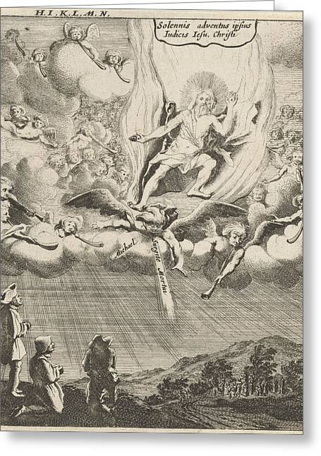 Christ Appears In The Sky, Print Maker Gillis Van Scheyndel Greeting Card by Gillis Van Scheyndel I And Gerhard Verstegen