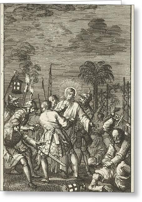 Christ Arrested In The Garden Of Gethsemane Greeting Card by Jan Luyken And Aart Dircksz Oossaan