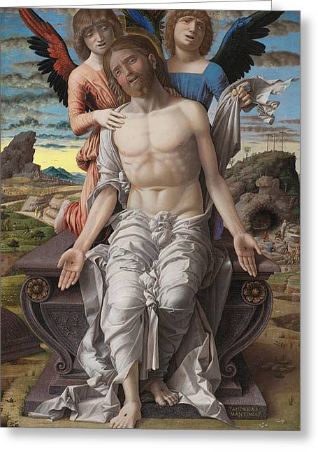 Christ As The Suffering Redeeme4 Greeting Card by Andrea Mantegna