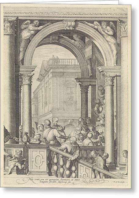 Christ At A Meal In The House Of Levi The Publican Plate 3 Greeting Card by Jan Saenredam And Paolo Veronese And Frederik De Wit