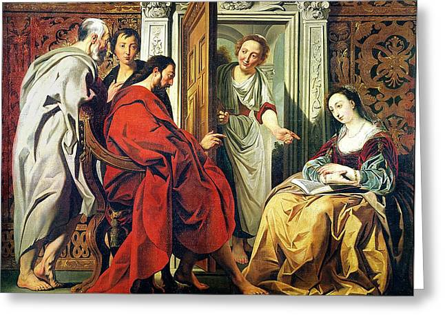 Christ At The House Of Martha And Mary Of Bethany Oil On Canvas Greeting Card by Jacob Jordaens