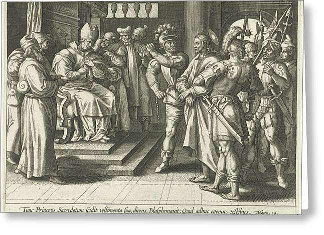 Christ Before Caiaphas, Print Maker Adriaen Collaert Greeting Card