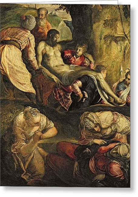 Christ Carried To The Tomb, Late 1550s Oil On Canvas Greeting Card