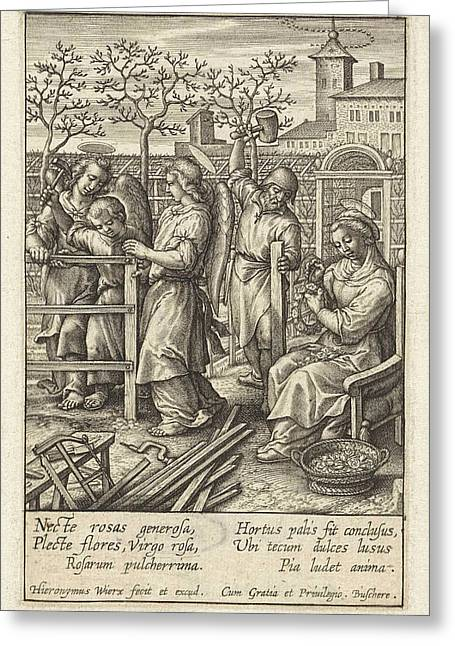 Christ Child Builds A Fence, Hieronymus Wierix Greeting Card