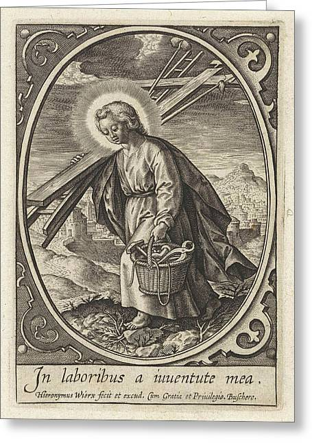 Christ Child Carries The Passion Equipment Greeting Card by Hieronymus Wierix