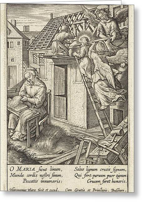Christ Child Puts A Roof, Hieronymus Wierix Greeting Card by Hieronymus Wierix