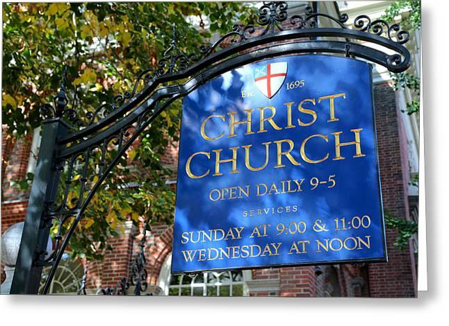 Christ Church Sign -- Philadelphia Greeting Card by Stephen Stookey