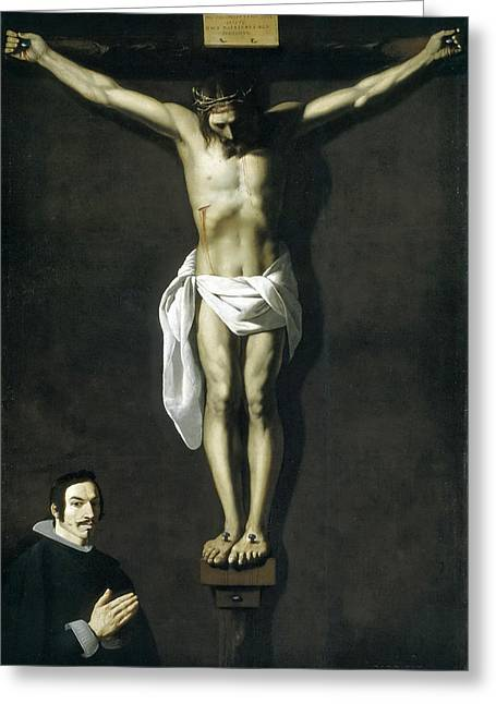 Christ Crucified With Donor Greeting Card