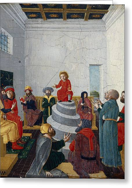Christ Disputing With The Doctors Oil On Panel Greeting Card by Bernadino Jacobi Butinone
