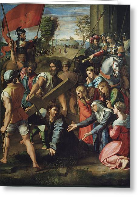Christ Falling On The Way To Calvary Greeting Card by Raphael